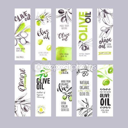 Downloaden - Set hand getrokken aquarel olijfolie etiketten. Vector illustraties concepten voor olijfolie verpakking — Stockillustratie #113765776
