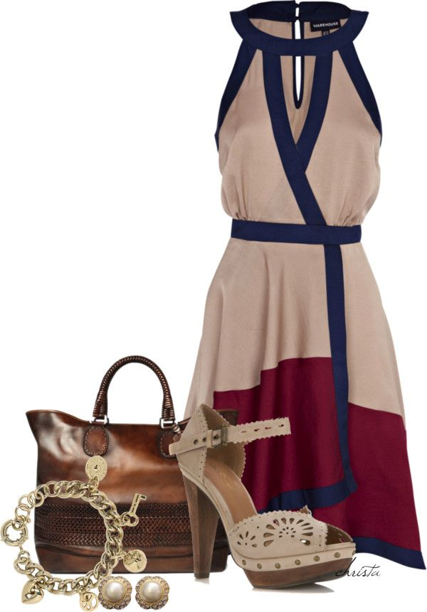 """Wrap Dress"" by christa72 ❤ liked on Polyvore (Not too crazy about the shoes though)"