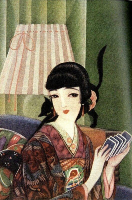 "fehyesvintagemanga: "" Fukiya Kouji "" Fukiya Kouji 蕗屋虹児 (1888-1979) Neko 猫, ureshii hi 嬉しい日 (""Cat,"" ""happy day"") - Japan - 1920s"