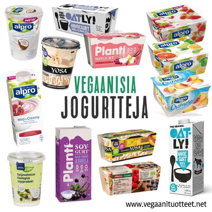 Kasvipohjaisia jogurtteja löytyy jokaisen makuun: on maustamatonta ja sokeroimatonta, hedelmäistä, marjaisaa, sileää, vaniljaista, soijatonta, luomua ja kotimaista. Pakkauskokojakin on litran pöniköistä pikkupurkkeihin tarpeen mukaan. Lista: http://www.vegaanituotteet.net/perusruuat/kasvimaitotuotteet