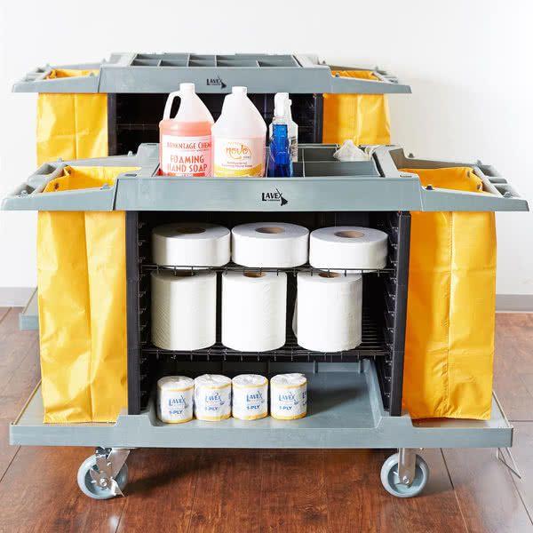 Lavex Lodging Hotel Housekeeping Cart Small Three Shelf