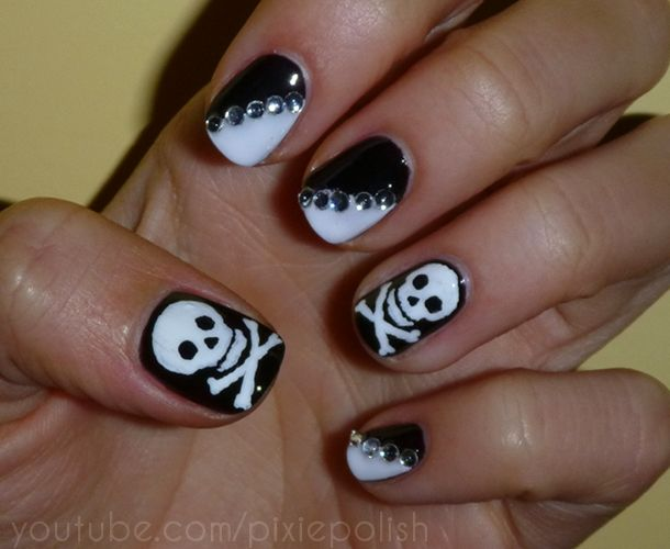 Nail art designs with skulls red roses and skulls nails art view images best skull nail art prinsesfo Gallery