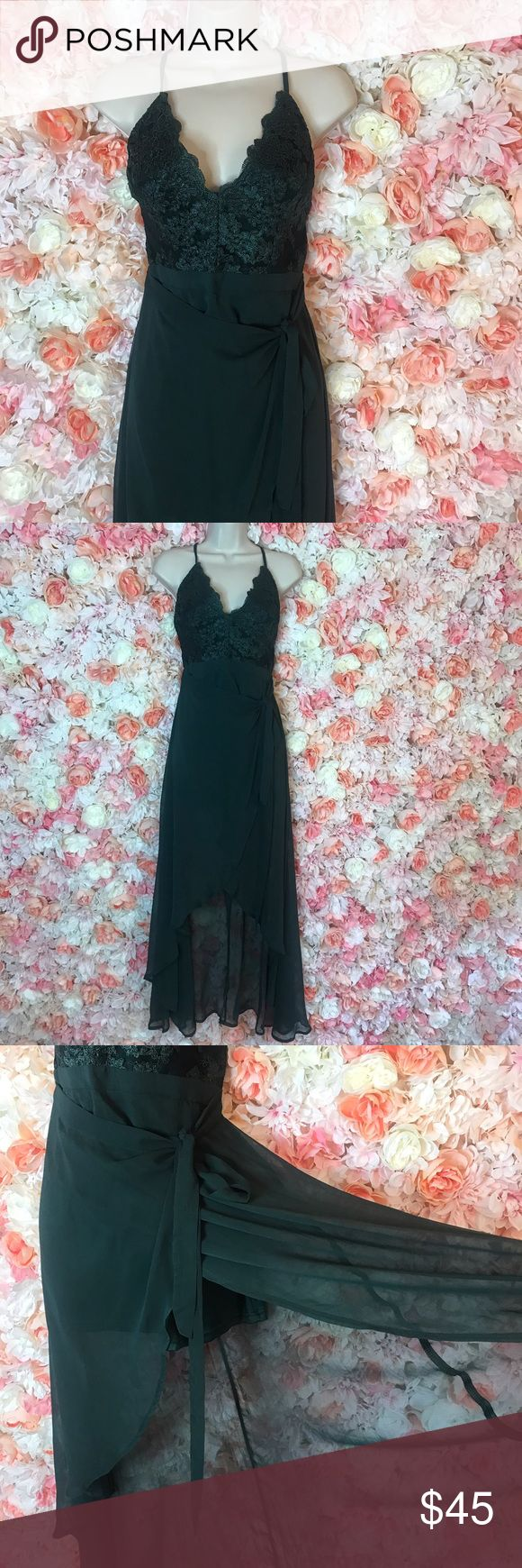 Green hi low maxi dress Green hi low maxi dress with double lined skirt. Sheer at the end. This dress is very romantic and beautiful on. Dresses High Low