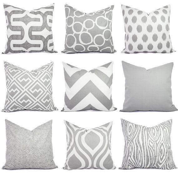 Various print throw pillows for my bedroom. Grey, Kelly Green, or Pink on WHITE (no cream).  Throw Pillow Covers  Two Grey and White by CastawayCoveDecor