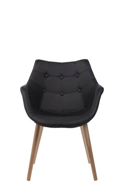 Eleven Loungestol - Sort - Flot polstret spisebordsstol i sort med læderlook til det moderne hjem. Stolens skal er i plastik. Stoleben i ask.