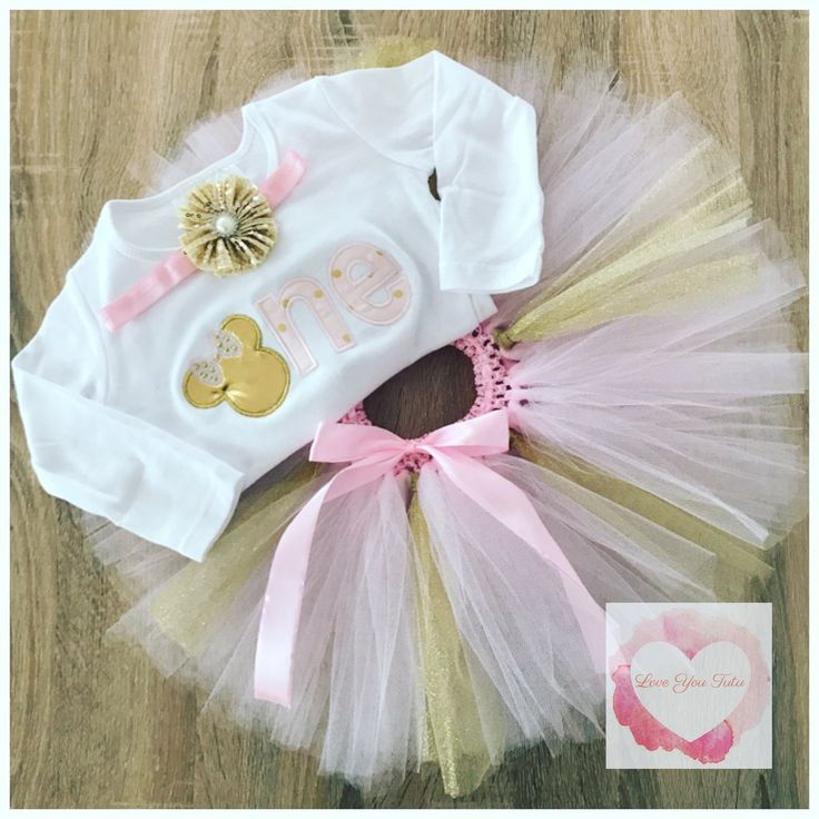 Embroidered Minnie one gold tutu set