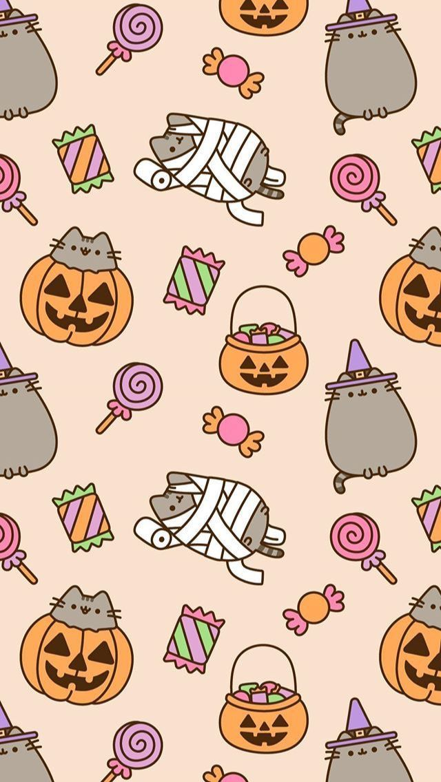 Kawaii Cute Halloween Phone Backgrounds Halloween Wallpaper Pusheen Cute Halloween Wallpaper Iphone