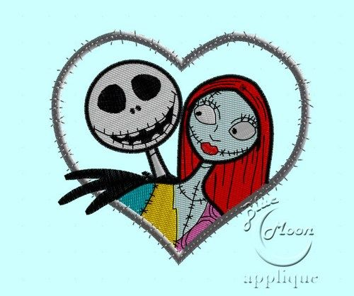 nbc jack and sally heart Applique Design for Embroidery Machines 4x 4 - instant download
