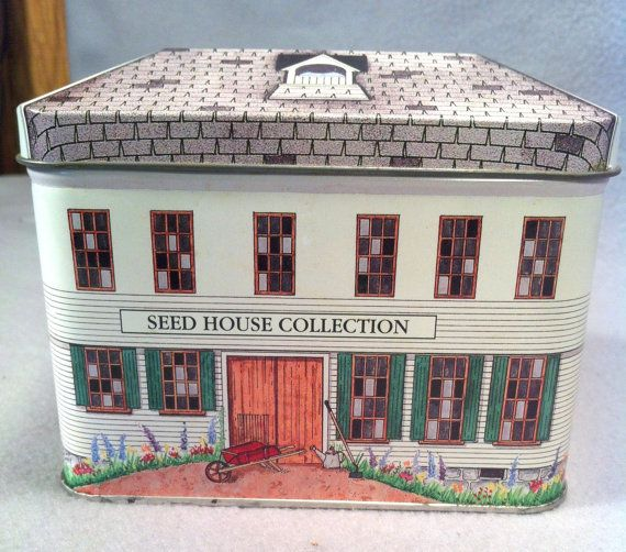 Burpee Seeds, Fordhook tin, Atlee Burpee, Tin house, Cottage chic, Seed tin, Seed house, Collector tin, Country tin, tin box, Display tin
