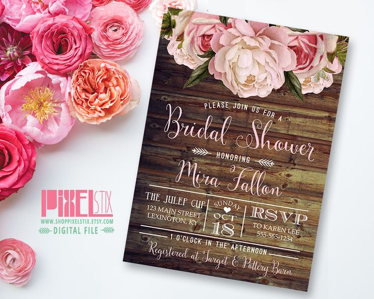 Rustic Floral Bridal Shower Invitation, Shabby Chic Invite, Peony and Rose, Vintage Wood, Country Style, Autumn Wedding, Fal - PRINTABLE by shopPIXELSTIX on Etsy