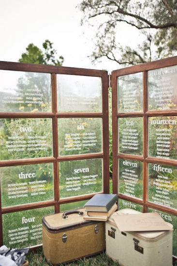 love! Seating chart display for a vintage outdoor wedding