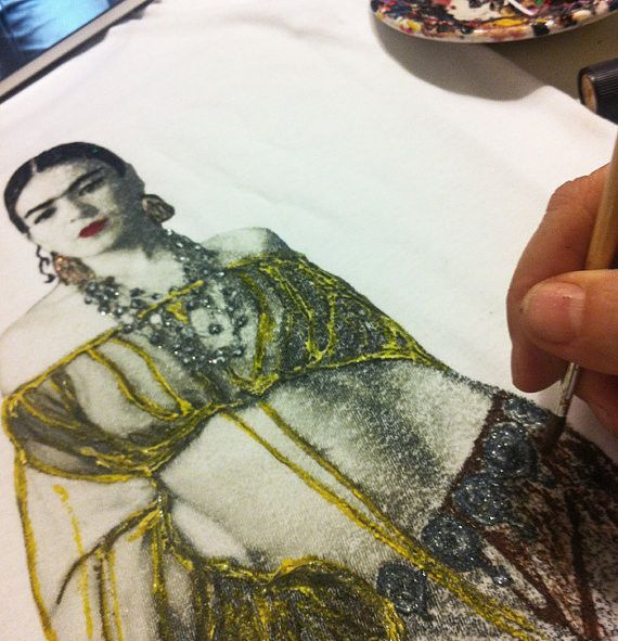 Frida Kahlo Shirt, Boho Frida T-shirt Painted