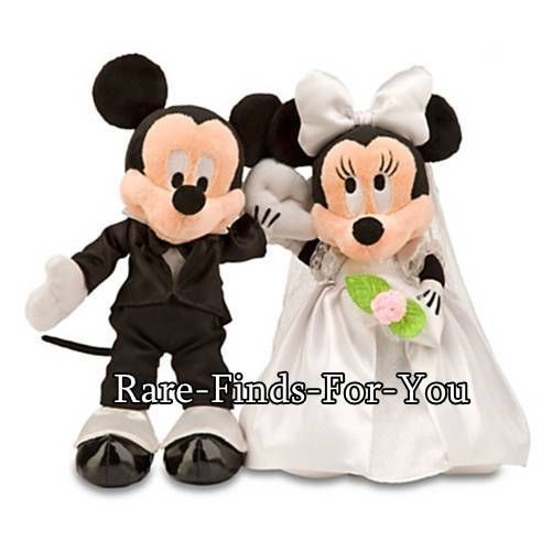 "Disney Theme Parks Mickey and Minnie Mouse Wedding 11"" Plush Doll Toy Set (NEW)"
