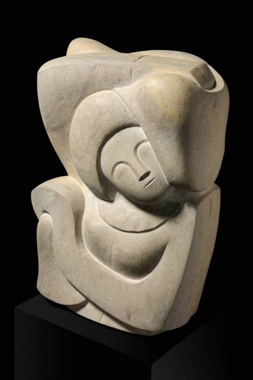 'Girl with Scarf' George Kennethson, c1965. Carved from Clipsham stone.