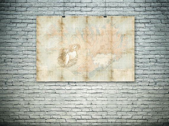 Iceland wall art Iceland map Iceland puffin large by PasteUpStore