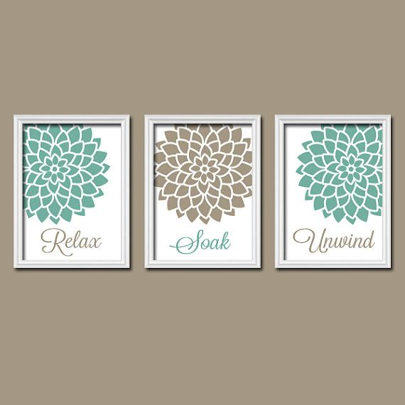 Sea Foam Beige BATHROOM Wall Art   CANVAS Or Prints Seafoam Bathroom  Pictures   Relax Soak Unwind   Flower Burst Artwork Set Of 3 Home Decor