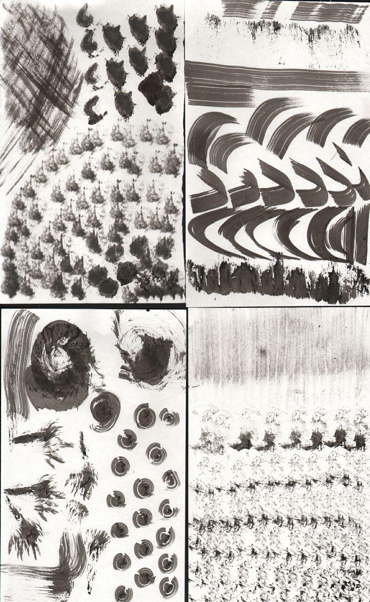Art Sketchbook - monochrome mark making experiments using sponge, paper & brushes // Art student portfolio