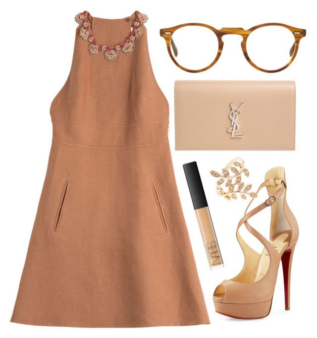 """Auntie Diana"" by dion-balalas ❤ liked on Polyvore featuring Valentino, Christian Louboutin, Yves Saint Laurent, NARS Cosmetics and Oliver Peoples"