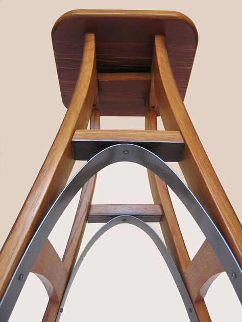 vintage oak wine barrel bistro table & bar stools with leather seats