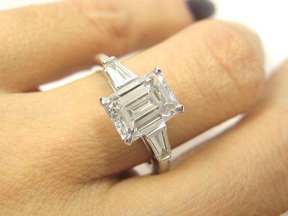 Everlasting Classic..2.32ct Estate Vintage Emerald Cut Diamond GIA VS1 with 2 Baguettes in Platinum.