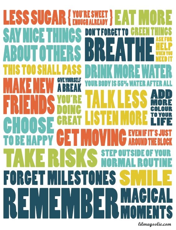 From lilmagoolie.com - New Year's resolutions in a poster