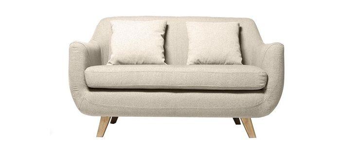 Canapé design scandinave 2 places crème SKANDI