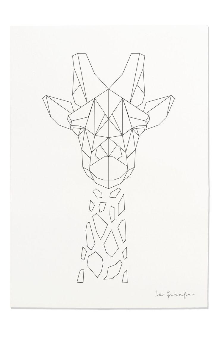 Giraffe Print, Geometric Giraffe Print, Nursery Animal Wall Art, Black and…
