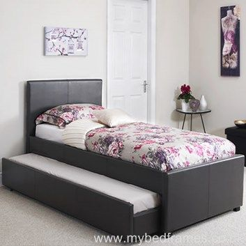 Carra Guest Bed in Black or White Faux Leather | MyBedFrames.co.uk