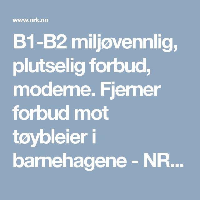 B1-B2 miljøvennlig, plutselig forbud, moderne. Fjerner forbud mot tøybleier i barnehagene - NRK Østlandssendingen - Lokale nyheter, TV og radio