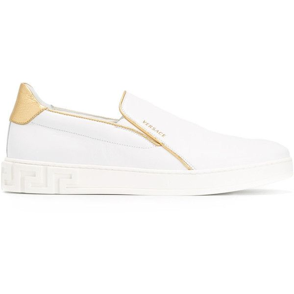 Versace contrast trim slip-on sneakers ($390) ❤ liked on Polyvore featuring men's fashion, men's shoes, men's sneakers, white, mens white slip on sneakers, mens white sneakers, versace mens shoes, mens slip on sneakers and mens flat shoes