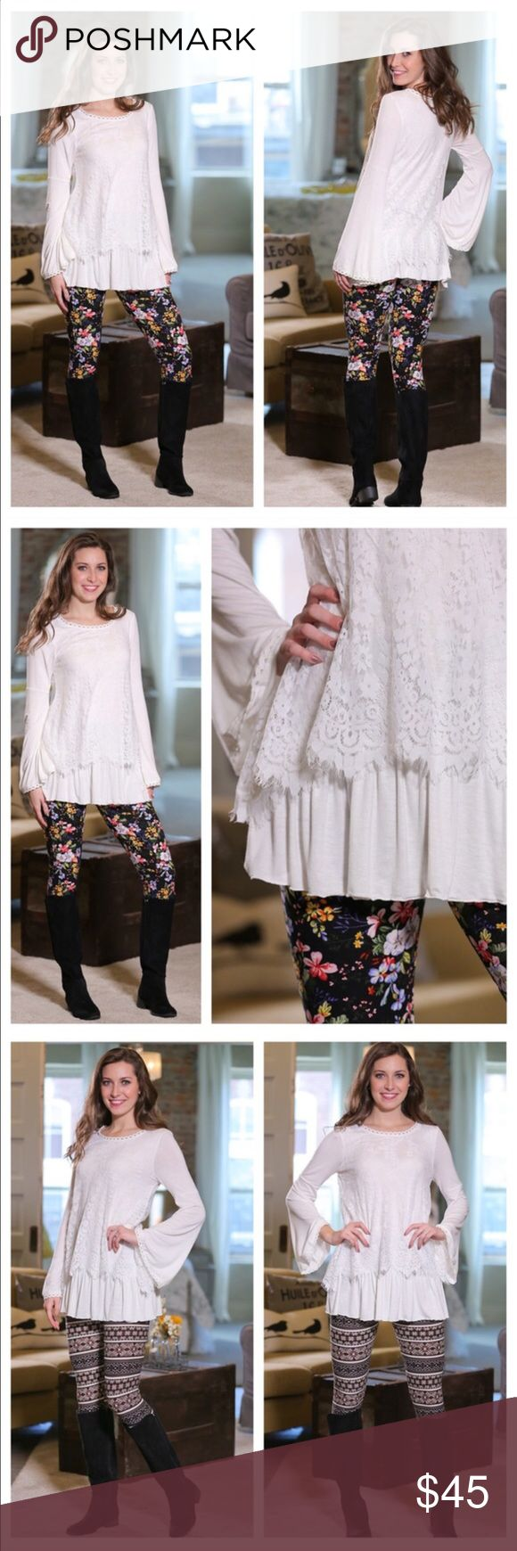 White Bell Sleeve Lace Tunic Gorgeous white Bell Sleeve Lace Tunic! Would look great with the new blue and white floral leggings I just posted! 95% Rayon, 5% Spandex. 20% off bundles!! Infinity Raine Tops Tunics