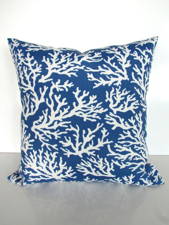blue throw pillows blue coral throw pillow covers indoor outdoor pillows blue pillow covers outdoor blue pillow 16 18x18 20 home decor
