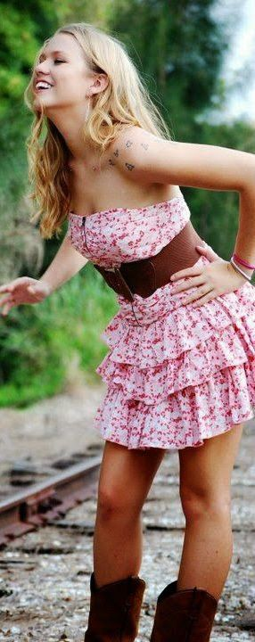 Ruffled Print Dress with Cowboy Boots