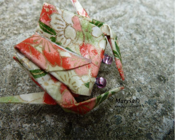 Green orange origami crab brooche.