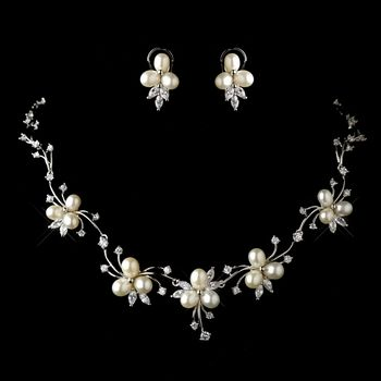 Antique Silver Freshwater Pearl & CZ Crystal Necklace & Earrings Floral Jewelry Set 1318