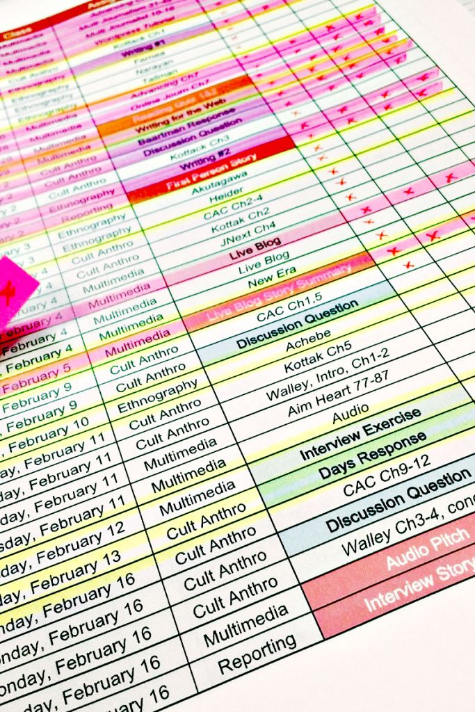 Free! College Assignment Sheet Template | Orphan Survival Guide