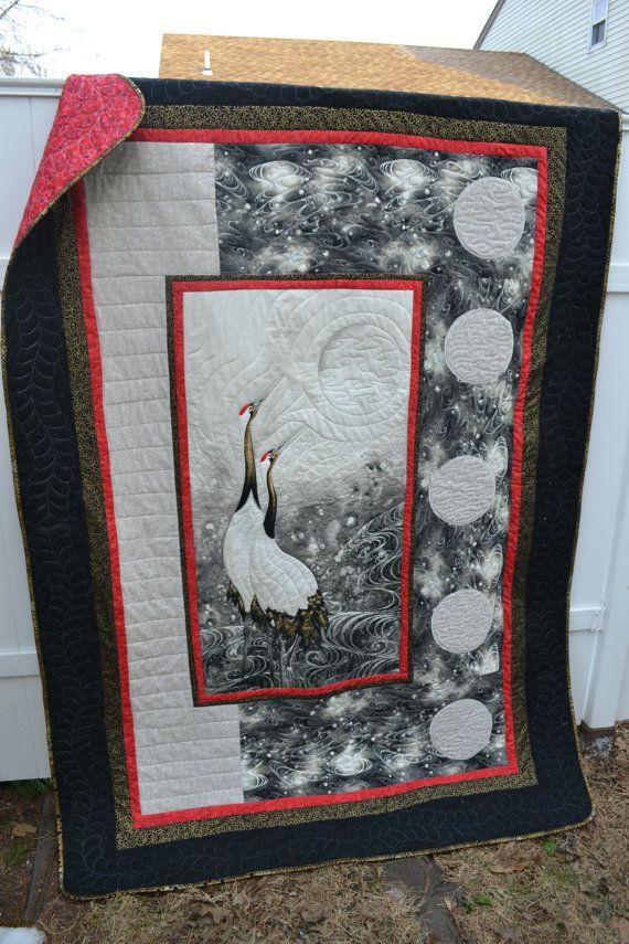 Handmade Asian Quilt Modern Zen Crane by TrueloveQuiltsForYou