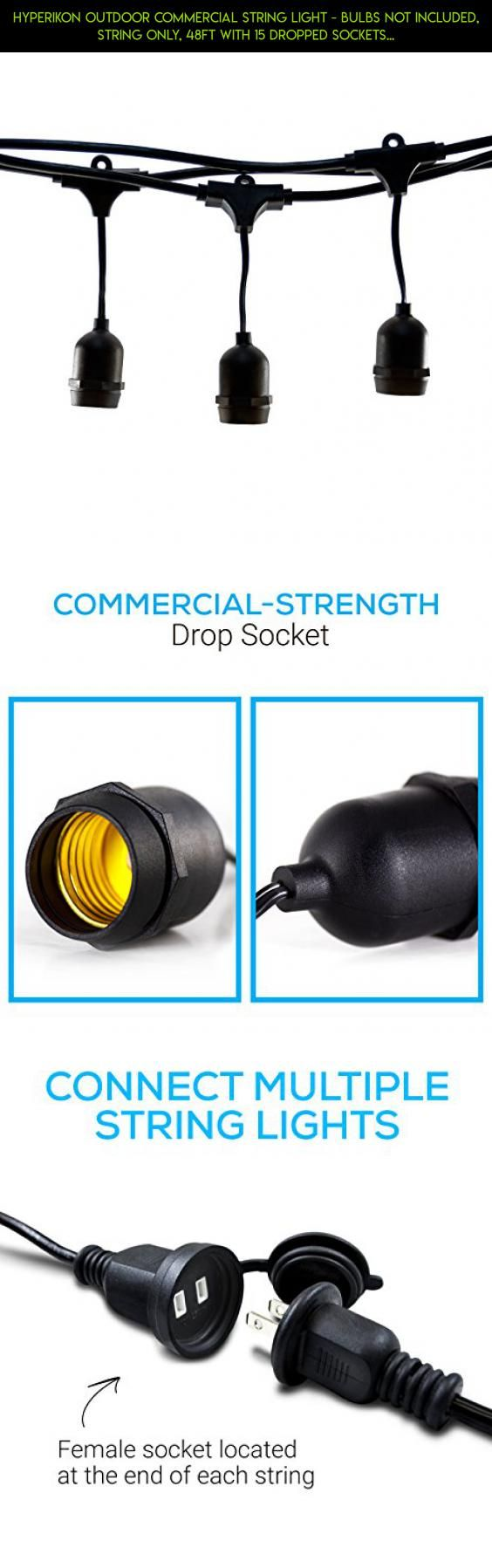 Hyperikon Outdoor Commercial String Light - Bulbs Not Included, String Only, 48ft with 15 Dropped Sockets - Weatherproof String Light, Great for Patio, Backyard, Garden, Wedding #shopping #camera #plans #parts #fpv #technology #tech #prime #kit #clearance #drone #products #racing #gadgets #furniture #patio #sets