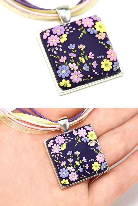 Floral Pendant Necklace Purple Yellow Pink Lilac Necklace with Flowers Floral Embroidery Polymer Clay Applique Filigree Pendant Square Shape