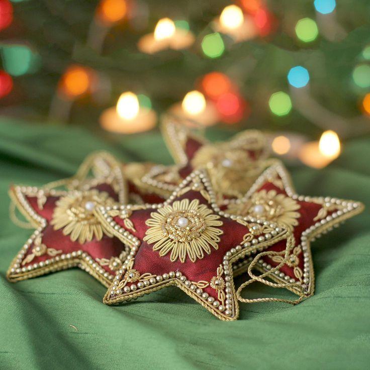Beaded Ornaments Scarlet Stars Set Of 5 Embroidered Christmas Ornaments Beaded Ornaments Ornament Set