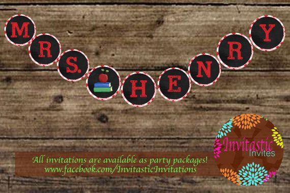 Teacher Name Banner Classroom decorations by InvitasticInvites, $10.00