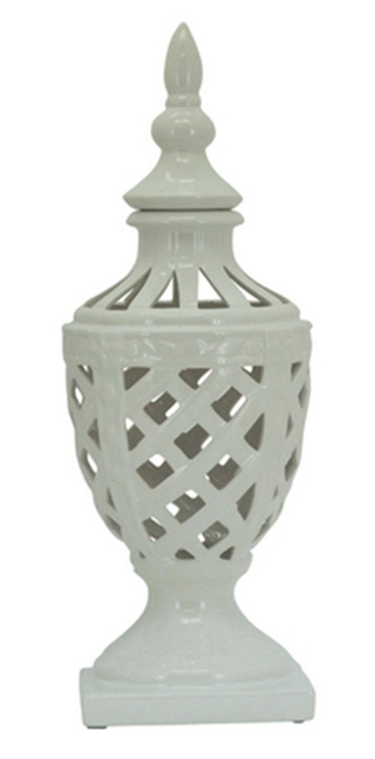 White lattice urn Www.lifestylehomeandliving.com.au