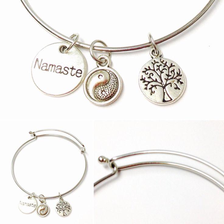 Yoga Charm Bracelet - Mens Charm Bracelet - Womens Charm Bracelet - Yoga Jewelry - Charm Bracelet - Charm Bangle -Yoga Bracelet -Yoga Charms by OurUniverseShop on Etsy