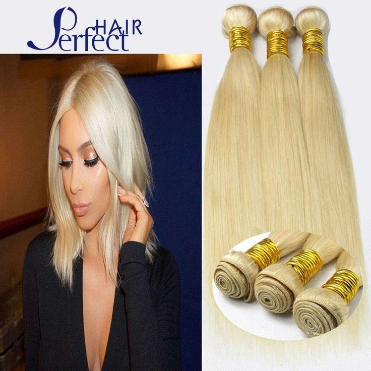 Queen love hair products brazilian virgin hair straight 3pcs lot 613 blonde virgin hair hot selling platinum blonde weave