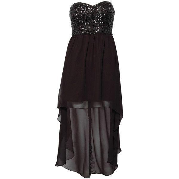Rare London Sequin Bust Dip Hem Bandeau Dress ($23) ❤ liked on Polyvore
