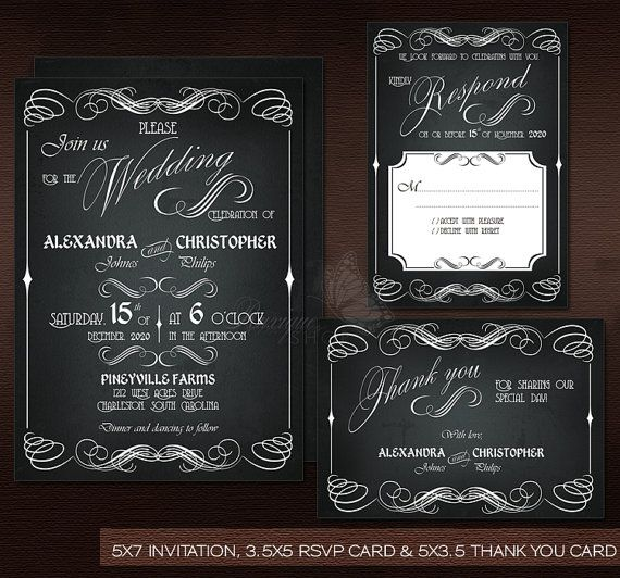 #Chalkboard #Vintage #Wedding Suite - PRINTABLE DIY Wedding #Invitation, #RSVP & #Thank You Card by Ruxique