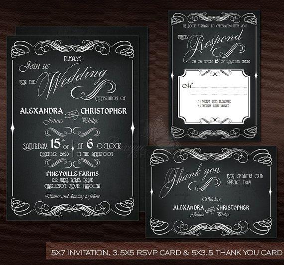 #Chalkboard #Vintage #Wedding Suite - PRINTABLE DIY Wedding #Invitation, #RSVP & #Thank You Card by Ruxique