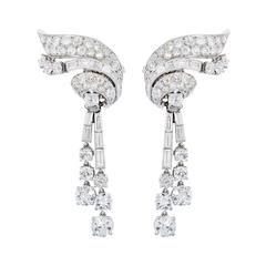 1950s Day and Night Diamond Waterfall Platinum Earrings
