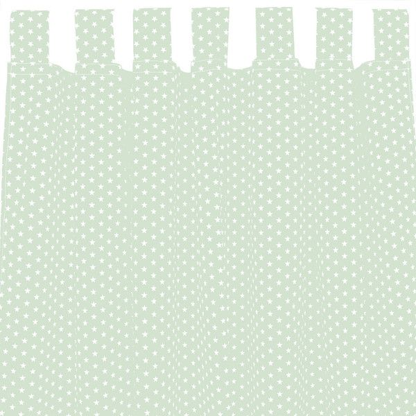 Gardinen - Set Vorhang Gardine mit Schlaufen mint Sterne weiß - ein Designerstück von Sugarapple bei DaWanda