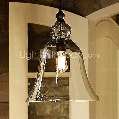 60w e27 pendent light with bell desgined glass shade balcony light